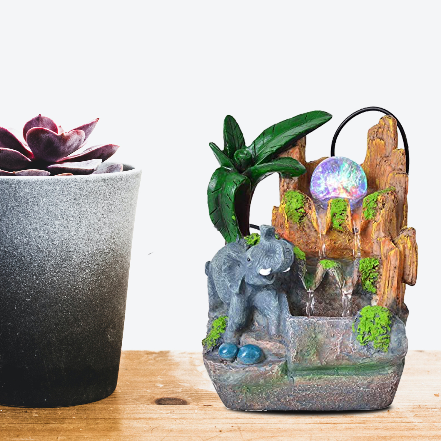 Shop LC Delivering Joy Tabletop Fountain Multi Color Jungle Water Fountain with LED Lights Glass Ball Flower Pot