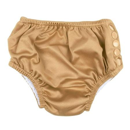 Leveret Kids Baby Boys Girls Reusable Absorbent Swim Diaper UPF 50+ Beige Size 6-12 Months