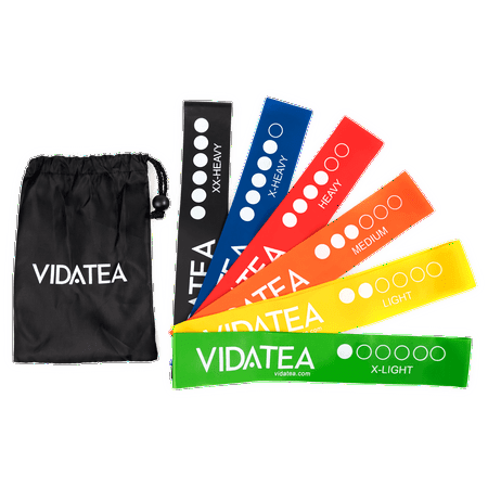 VIDA Resistance Bands for Exercise, Fitness, Set of 6 12-Inch Loop Workout Bands for All Levels, with FREE (Fitness Pro Workout Bag)