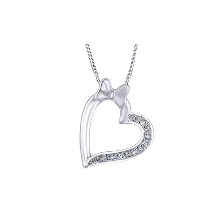 1/20 Ct Simulated Cubic Zirconia Minnie Mouse Bow Heart Pendant In 14K White Gold Over Sterling Silver
