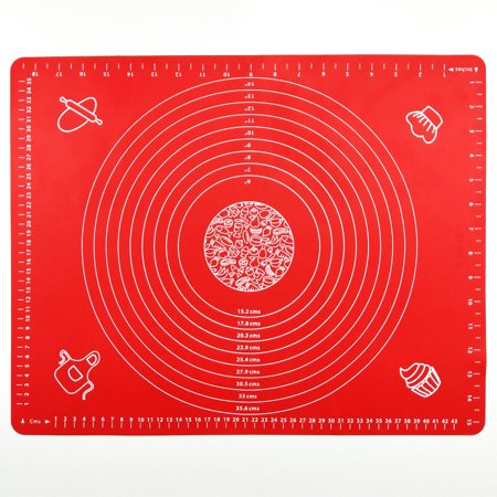 Silicone Baking Mat for Pastry Rolling with Measurements, Liner Heat Resistance Table Placemat Pad Pastry Board, Reusable Non-Stick Silicone Baking Mat for Housewife, Cooking Enthusiasts (Red)