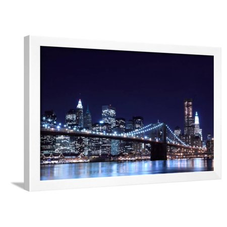 Brooklyn Bridge and Manhattan Skyline at Night, New York City Framed Print Wall Art By Zigi