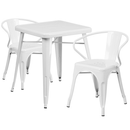 Lancaster Home 23.75'' Square Metal Indoor-Outdoor Table Set with 2 Arm Chairs ()
