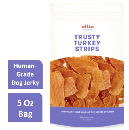 Ollie Pets Grain Free Trusty Turkey Strips Jerky Dog Treat, 5 Oz