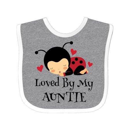 Loved By My Auntie ladybug Baby Bib