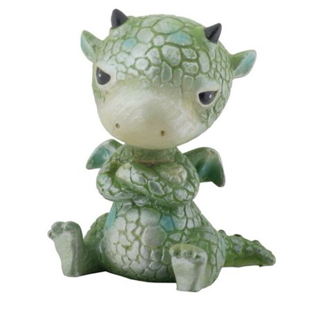 Mythical Green Sulky Baby Dragon Fantasy Figurine - Tiny Baby Figurines