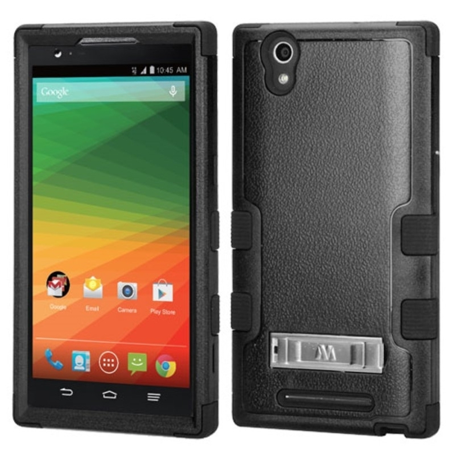Insten Black Dual Layer Hybrid Stand Rubberized Hard PC/Silicone Case Cover For ZTE ZMax