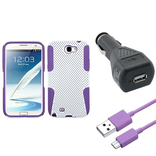 Insten Purple/White Hybrid Case Car Charger Adapter Cable For Samsung Galaxy Note 2