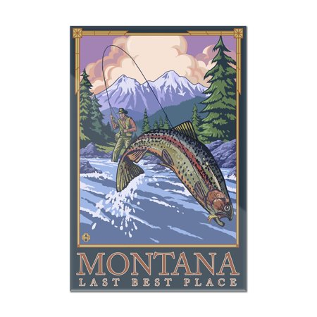 Montana, Last Best Place - Angler Fly Fishing Scene (Leaping Trout) - Lantern Press Original Poster (8x12 Acrylic Wall Art Gallery