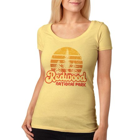 National Park Retro 70s Sunset Redwood Womens Soft Scoop T Shirt](Womens 70s Clothes)