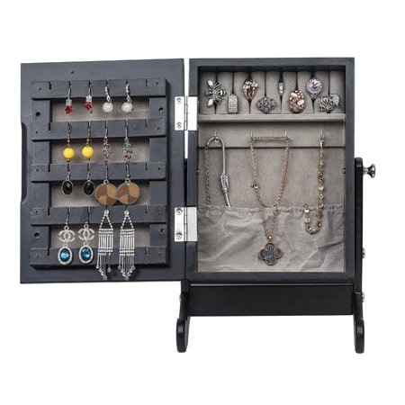 Topcobe Jewelry Organizer with Mirror, Jewelry Armoire for Women, Jewelry Cabinet Storage Box Countertop with Stand, Jewelry Holder for Earrings Bracelets Rings Necklace, Black ()