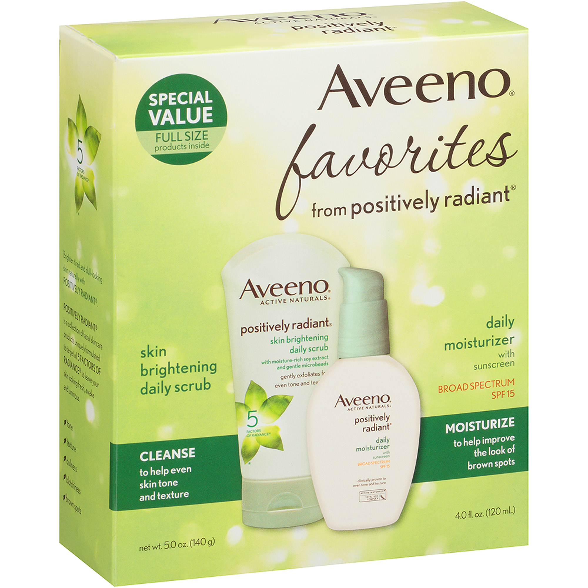 Aveeno Favorites from Positively Radiant Daily Scrub & Moisturizer Set, 2 pc