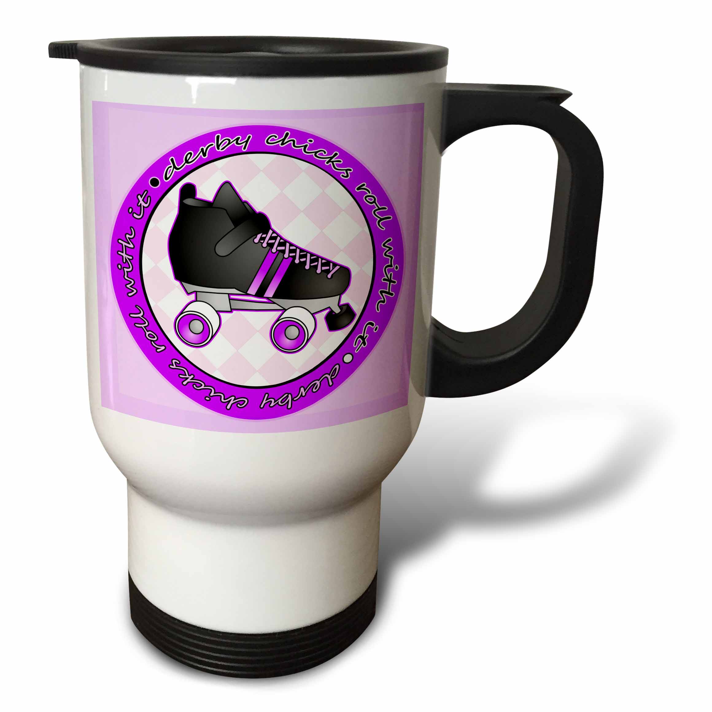 3dRose Derby Chicks Roll With It Purple with Black Roller Skate, Travel Mug, 14oz, Stainless Steel by 3dRose