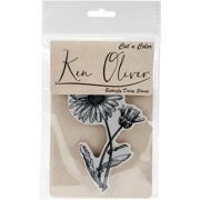 Ken Oliver Cut n Color Cling Stamp-Butterfly Daisy