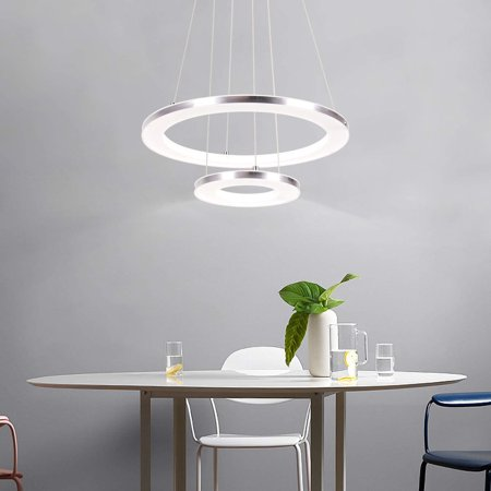 CHYING Modern LED Pendant Light, Acrylic Chandeliers Ceiling Light, 2-Ring, 30W, Cool White, 6500K, Adjustable Height Hanging Light Fixture for Dining Room, Restaurant, Kitchen Island 2-ring Cool Whit