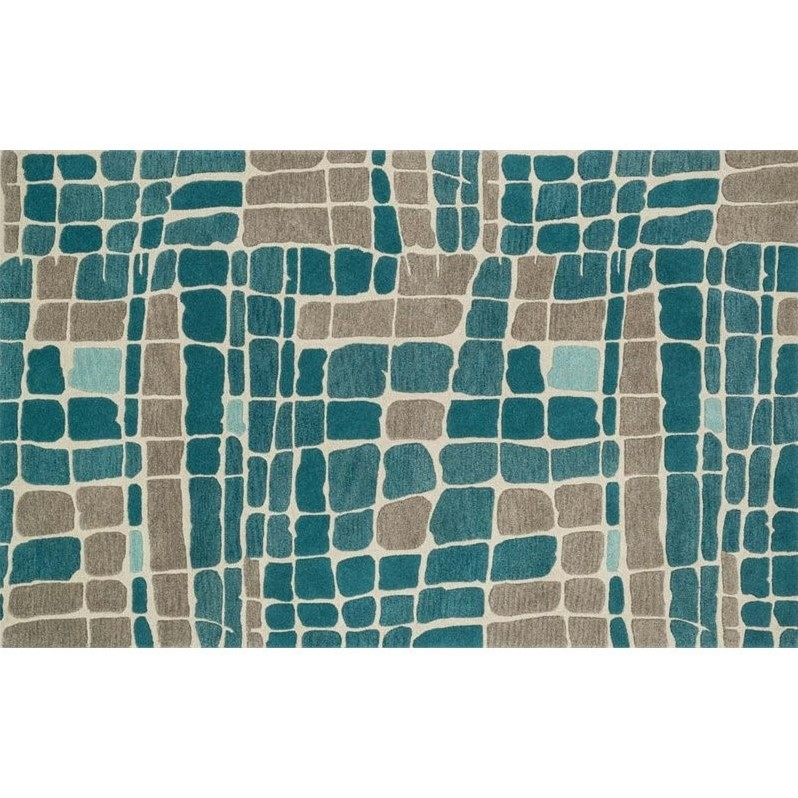 "Loloi Nova 7'6"" Square Wool Rug in Teal and Gray"