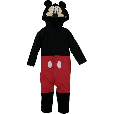Disney Mickey Mouse Infant Baby Boys' Zip-Up Hooded Costume Coverall w Footies (0-3 Months)