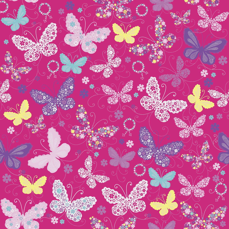 """Jillson & Roberts Bulk Gift Wrap, Butterfly Pink, 1/2 Ream 417' x 24"""""""