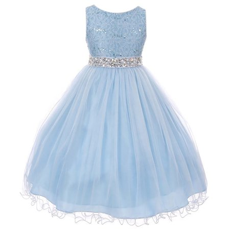 Little Girl Rhinestones Sequins Glitter Pageant Wedding Flower Girl Dress USA Ice Blue 4 MBK 340 BNY Corner