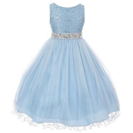 Little Girl Rhinestones Sequins Glitter Pageant Wedding Flower Girl Dress USA Ice Blue 4 MBK 340 BNY - Ice Blue Flower Girl Dresses