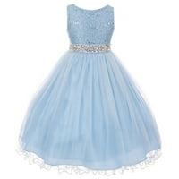 87f64cb42d Product Image Little Girl Rhinestones Sequins Glitter Pageant Wedding  Flower Girl Dress USA Ice Blue 4 MBK 340