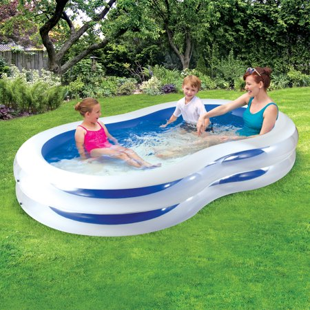 Play Day 8 Plastic Inflatable Family Swimming Pool, Blue and White
