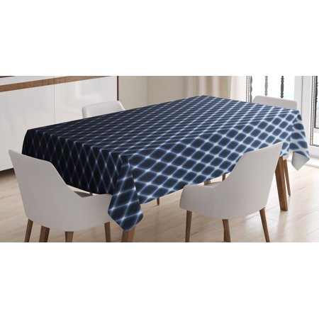 Diagonal Checkered Snap (Dark Blue Tablecloth, Diagonal Checkered Pattern Halftone Technology Inspired Modern Futuristic, Rectangular Table Cover for Dining Room Kitchen, 52 X 70 Inches, Dark Blue White, by)