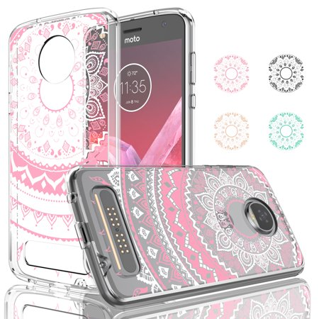 Moto Z2 Play Case, Moto Z2 Play Driod Clear Case Cover, Njjex Rose Gold 2-Piece Retro Flower Pattern Clear Transparent Scratch Resistant Hard Case Cover For Motorola Moto Z2 Play Released in 2017 ()