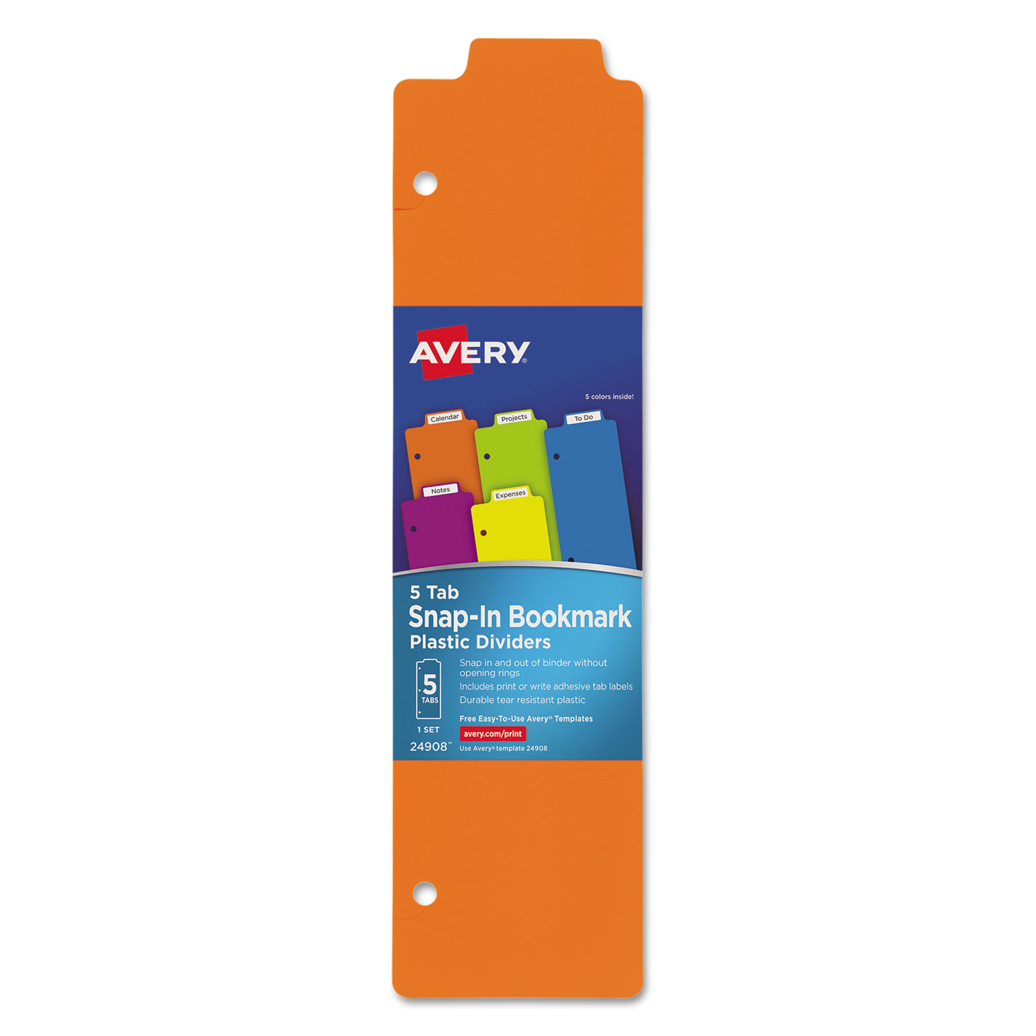 Avery Snap-In Plastic Bookmark Dividers 24908, 5 Tabs, 1 Set, Multicolor by Avery Products Corporation