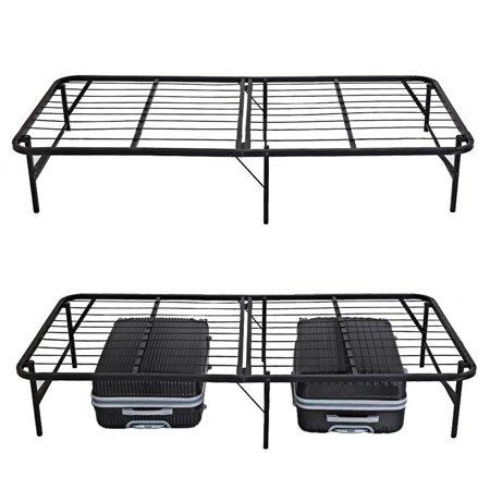 Cleanerlove Twin Size  Folding Platform Metal  Bed Frame Base Mattress Foundation Black