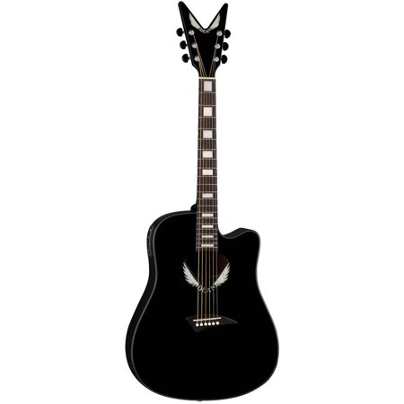 Dean V-Wing Thin Body Acoustic/Electric Guitar - Classic Black