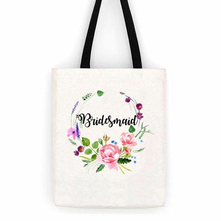 Bridesmaid Floral Wedding Cotton Canvas Tote Bag School Day Trip Bag - Bridesmaid Tote Bag