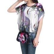 Allegra K Women's Floral Print Tunics with Tie Waist Multicolor (Size L / 12)