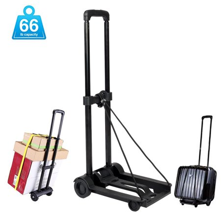 UBesGoo Heavy Duty Foldable Utility Luggage Cart, Portable Fold Up Dolly Trolley Car, Small Mini Shopping Hand Truck, 66 lbs Maximum Load, for Luggage, Personal, Travel, Moving and Office (Best Luggage Cart For Car Seats)