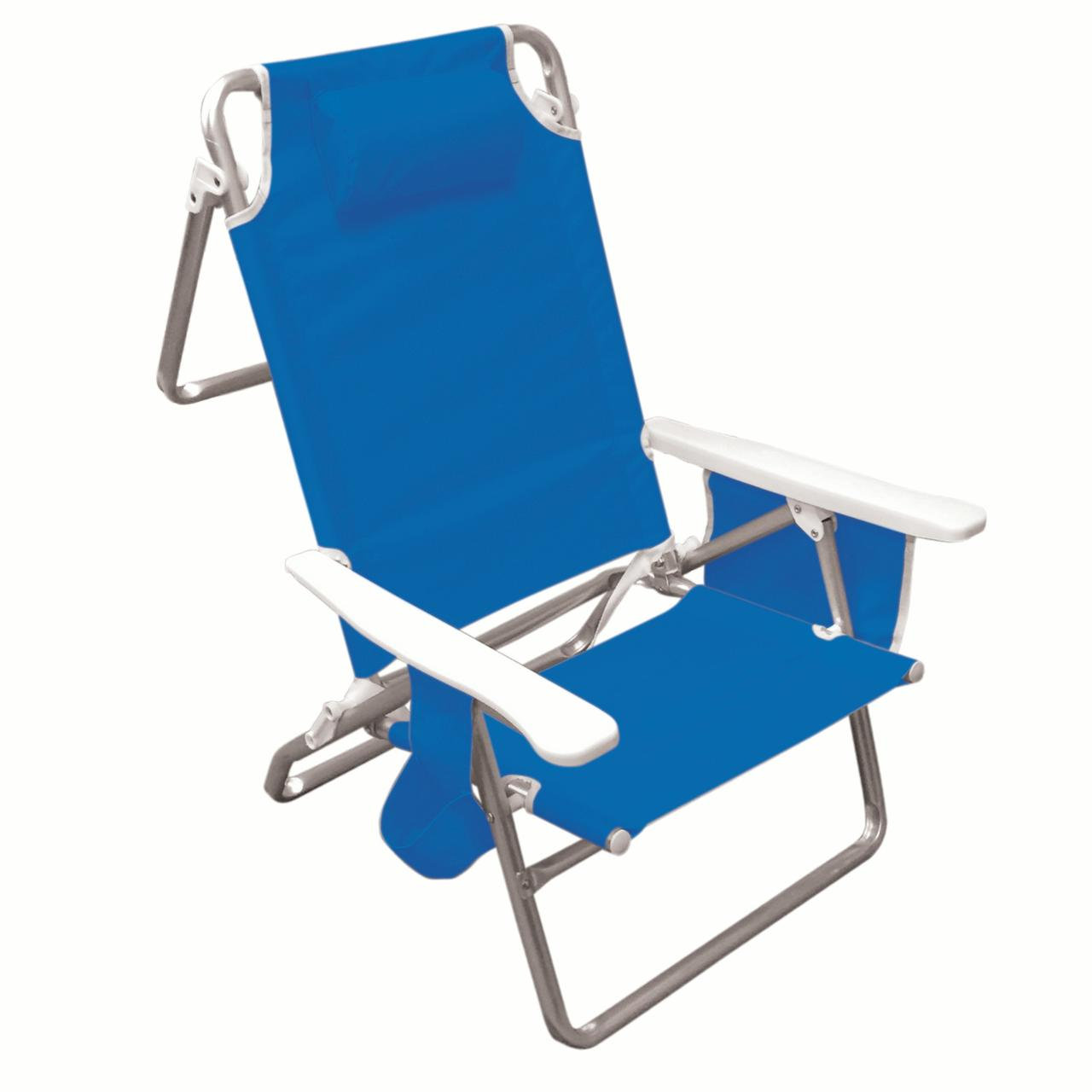 Hawaiian Tropic Five Position folding beach chair with carrying strap, pocket organizer, head rest pillow, cup holder