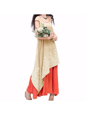 Women s Floral Print Embroidered Asym Sleeveless Long Dress bf84b14e6