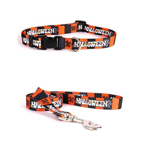 Yellow Dog Design Happy Halloween Pet Standard Collar and Lead Set XS