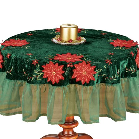Poinsettia Velvet Table Linens with Ruffled Organza - Holiday Dining Room Table Decor ()