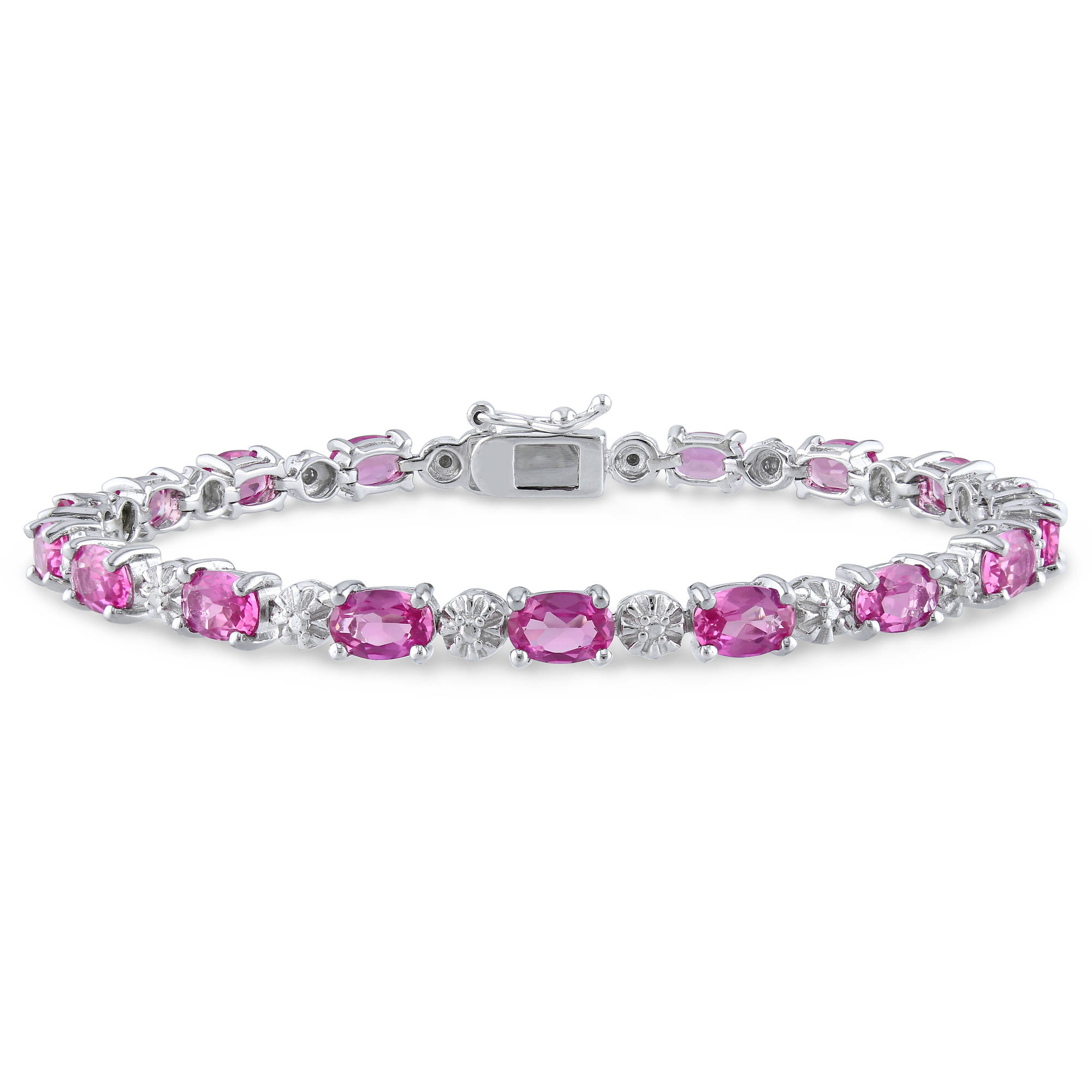"13-1 2 Carat T.G.W. Oval-Cut Created Pink Sapphire and Diamond-Accent Sterling Silver Tennis Bracelet, 7.25"" by Delmar Manufacturing LLC"