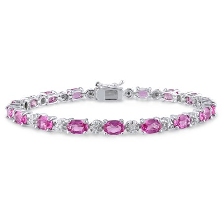 - 13-1/2 Carat T.G.W. Created Pink Sapphire and Diamond-Accent Sterling Silver Tennis Bracelet, 7.25