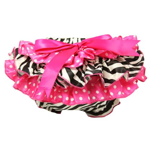 Baby Girls Zebra Print and Polka Dots Satin Bloomers 0-24 Months