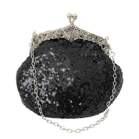 Color Evening Purse (Chicastic Fully Sequined Mesh Beaded Antique Style Wedding Evening Formal Cocktail Clutch Purse -)