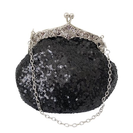 - Chicastic Fully Sequined Mesh Beaded Antique Style Wedding Evening Formal Cocktail Clutch Purse - Black