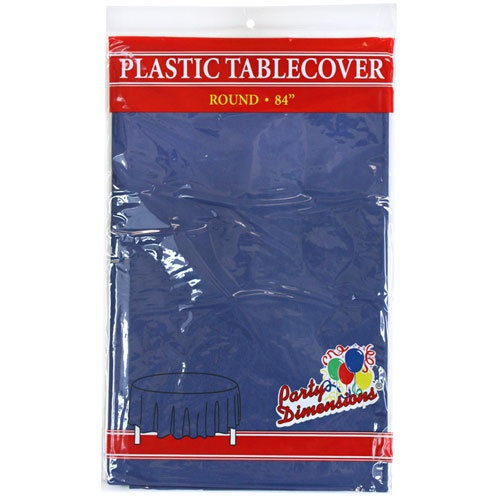 "Navy Blue  84"" Round Plastic Disposable Party  Tablelcoth"