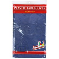 """Navy Blue  84"""" Round Plastic Disposable Party  Tablelcoth"""