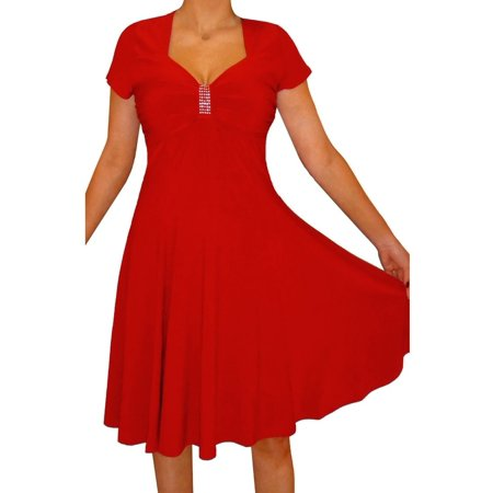Funfash Plus Size Clothing Women Red Slimming A-line Cocktail Dress Made in USA