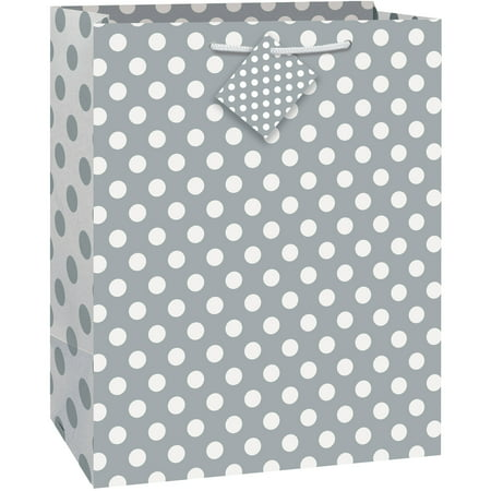Big Gift Bags ((3 pack) Silver Polka Dot Gift Bag, 12.75