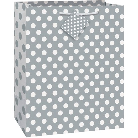 (3 pack) Silver Polka Dot Gift Bag, 12.75