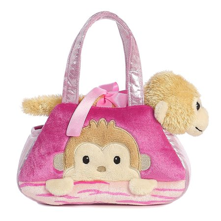 World Fancy Pals Peek-A-Boo Monkey Pet Carrier, Purse features beautiful ribbon, embroidery, and mixed fabric accents By Aurora Ship from US