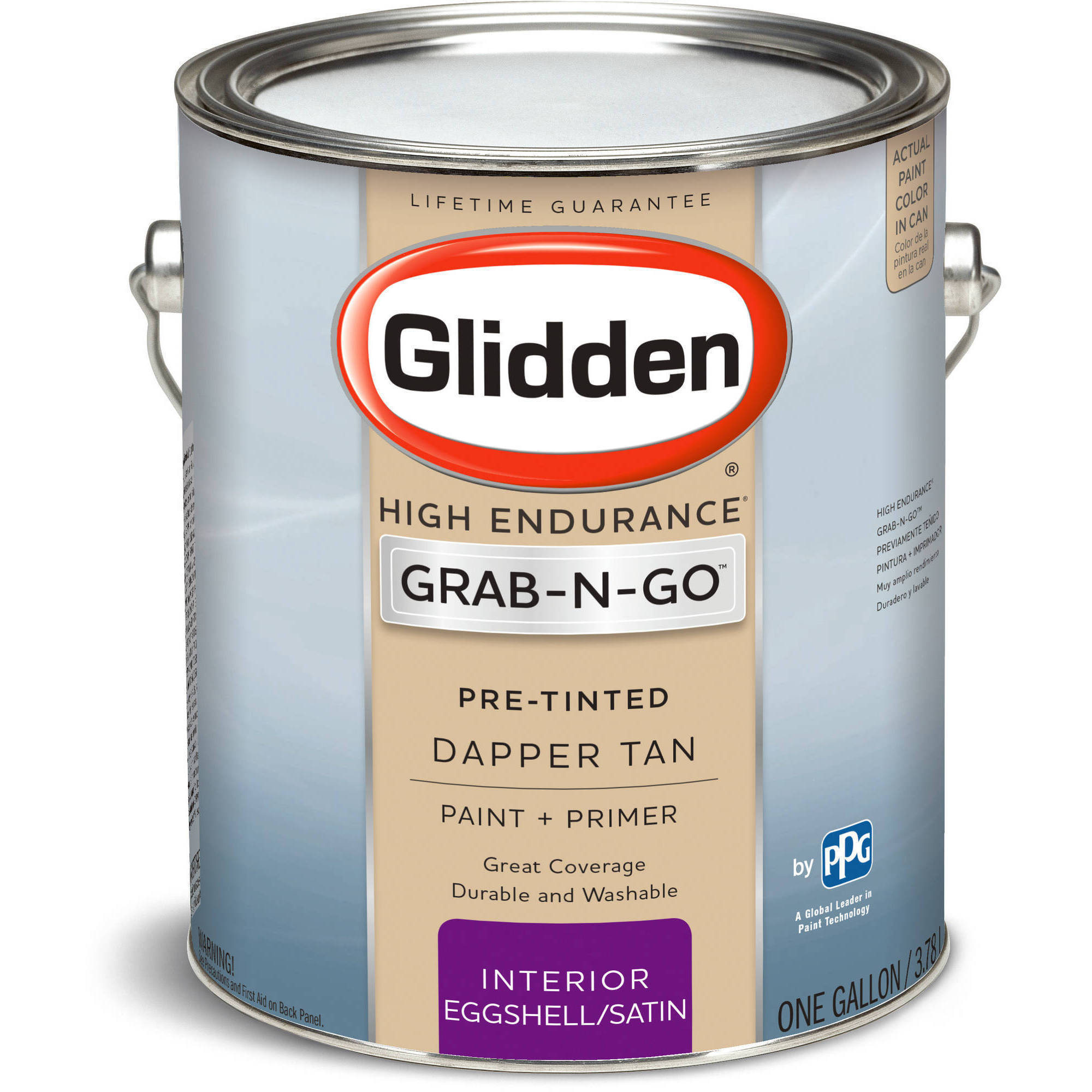 Glidden Pre Mixed Ready To Use, Interior Paint and Primer, Eggshell Finish, Dapper Tan, 1 Gallon